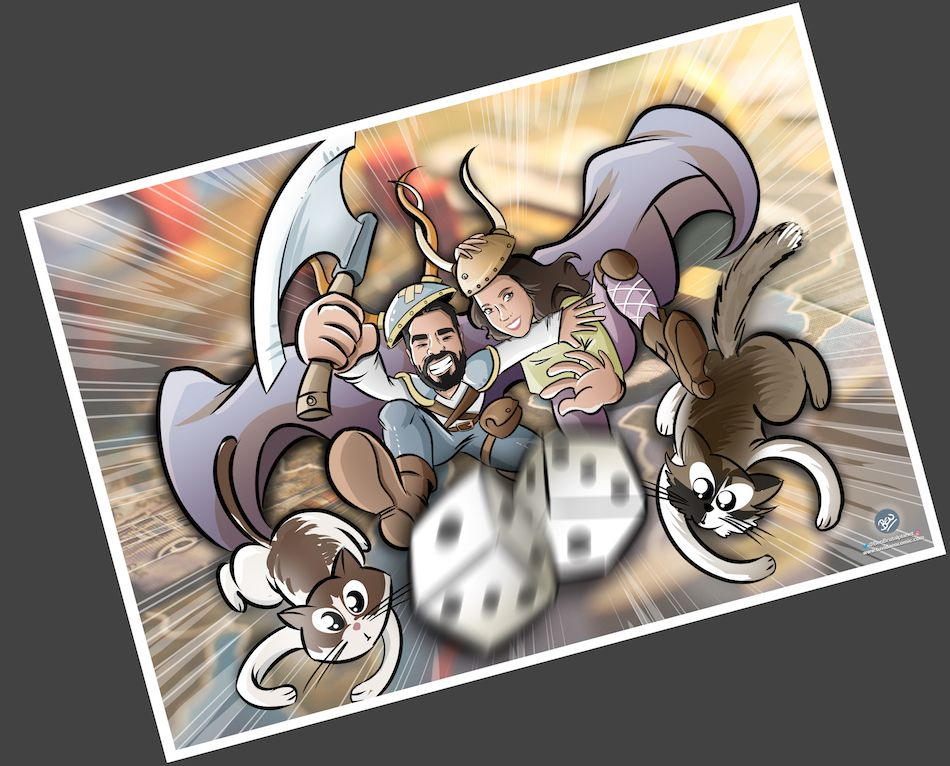 Ilustración personalizada - Un tapete personalizado para tus juegos de mesa - Caricatura Personalizada - www.tuvidaencomic.com - BEN - 4