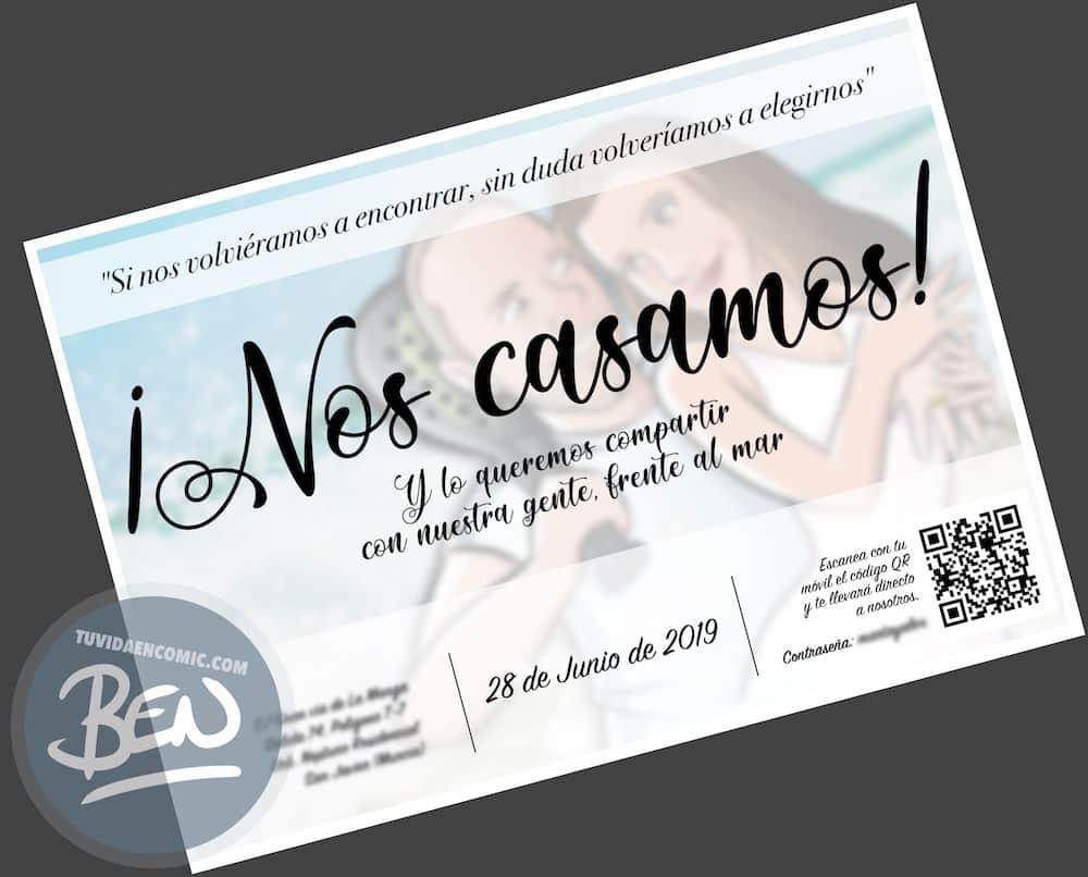 Invitación de boda personalizada y original - Ilustración : Caricatura personalizada - www.tuvidaencomic.com - BEN - 2