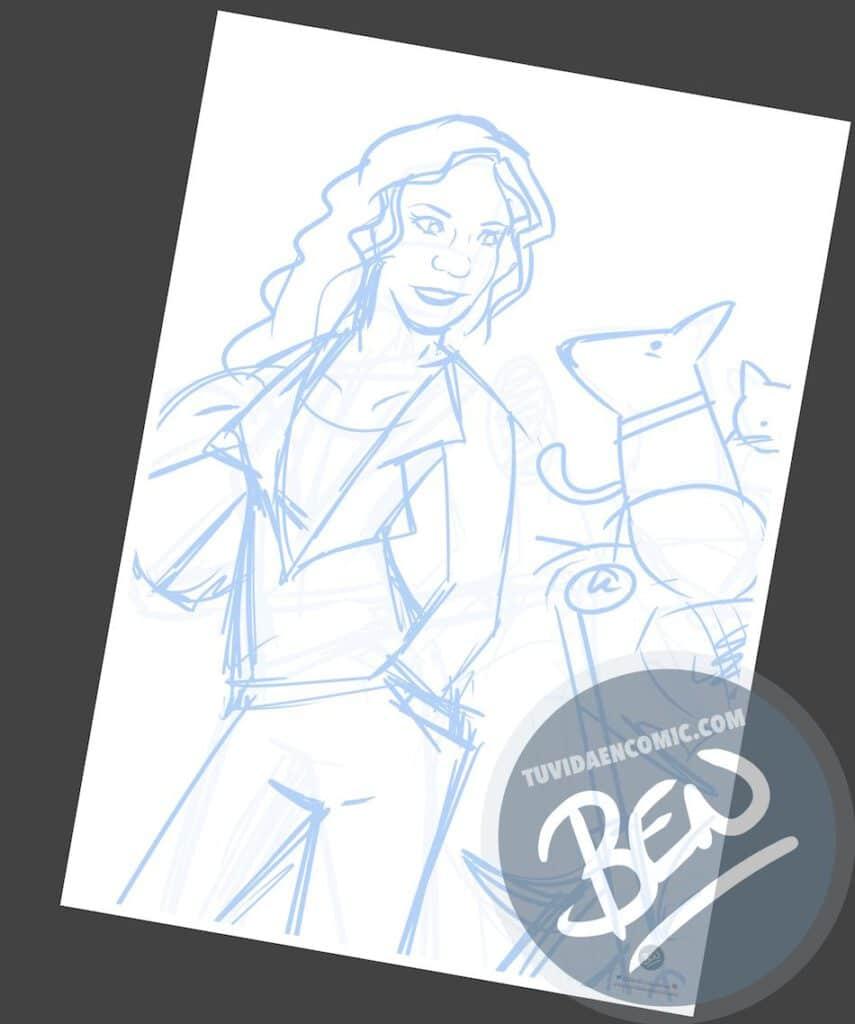 Ilustración personalizada - Regalo original para una motera - Caricatura Personalizada - tuvidaencomic.com - BEN - 1