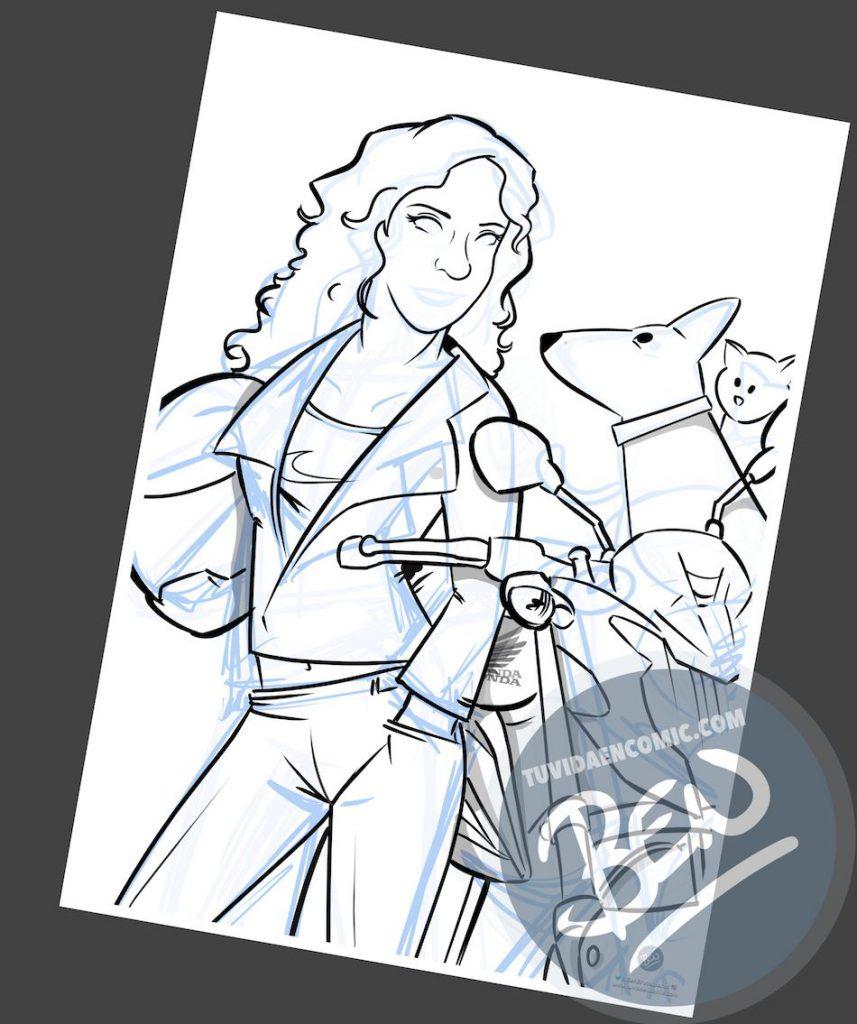 Ilustración personalizada - Regalo original para una motera - Caricatura Personalizada - tuvidaencomic.com - BEN - 2