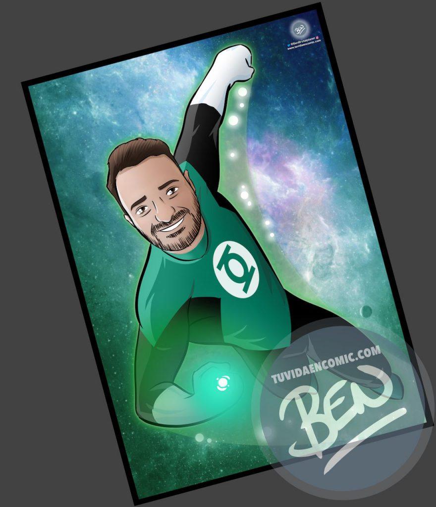 Ilustración personalizada - Regalo perfecto para fans de Linterna Verde - Caricatura Personalizada - www.tuvidaencomic.com - BEN - 4 copia