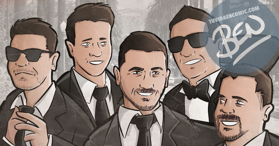 Ilustración grupal personalizada - Amigos a lo Tarantino - Caricatura de grupo Personalizada - www.tuvidaencomic.com - BEN - 0