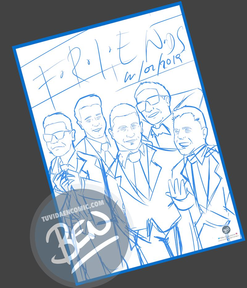 Ilustración grupal personalizada - Amigos a lo Tarantino - Caricatura de grupo Personalizada - www.tuvidaencomic.com - BEN - 1