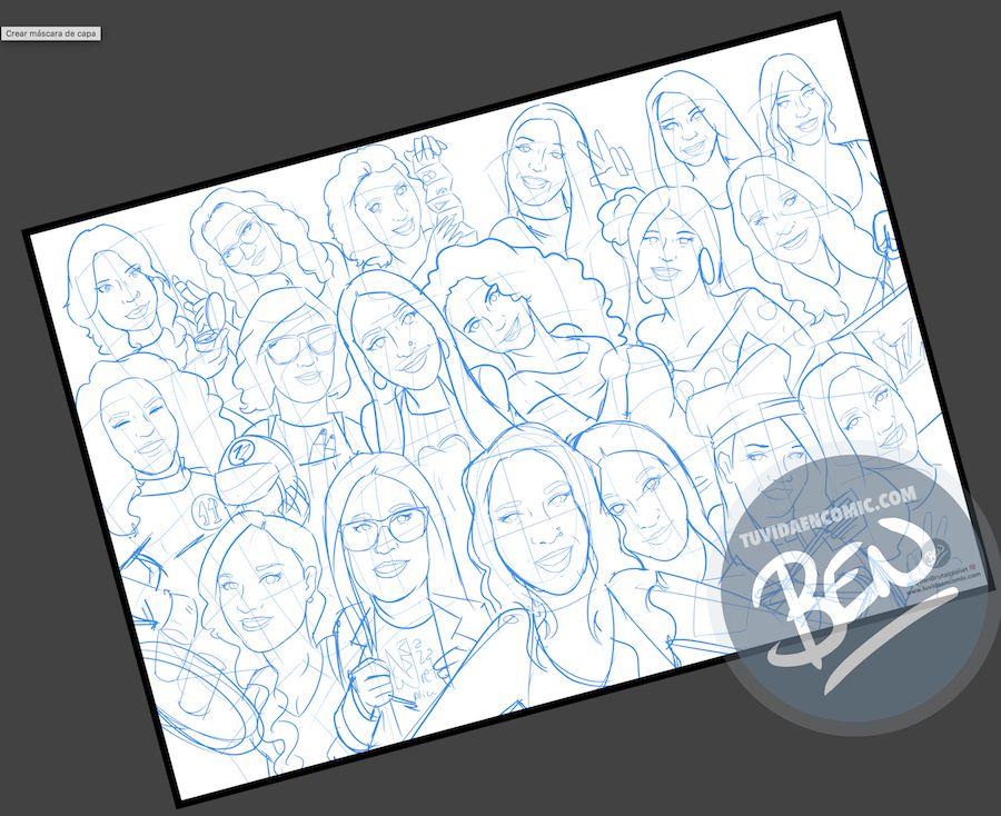 Ilustración grupal personalizada - Todas con la novia en su boda- Caricatura de grupo Personalizada - tuvidaencomic.com - BEN - 1