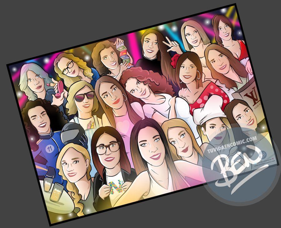 Ilustración grupal personalizada - Todas con la novia en su boda- Caricatura de grupo Personalizada - tuvidaencomic.com - BEN - 4