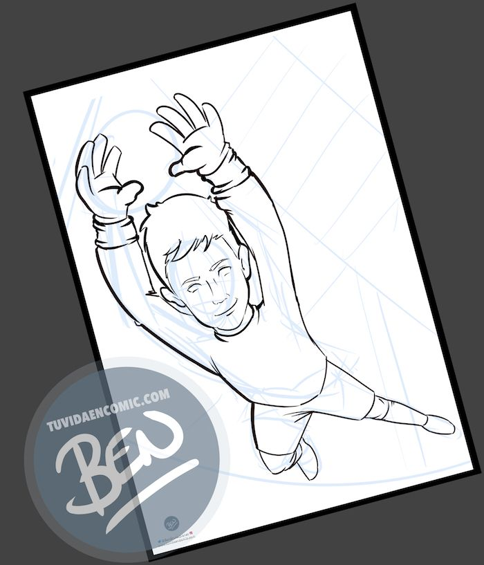 Ilustración infantil - Un regalo para el portero del equipo - Caricatura Personalizada - www.tuvidaencomic.com - BEN - 1