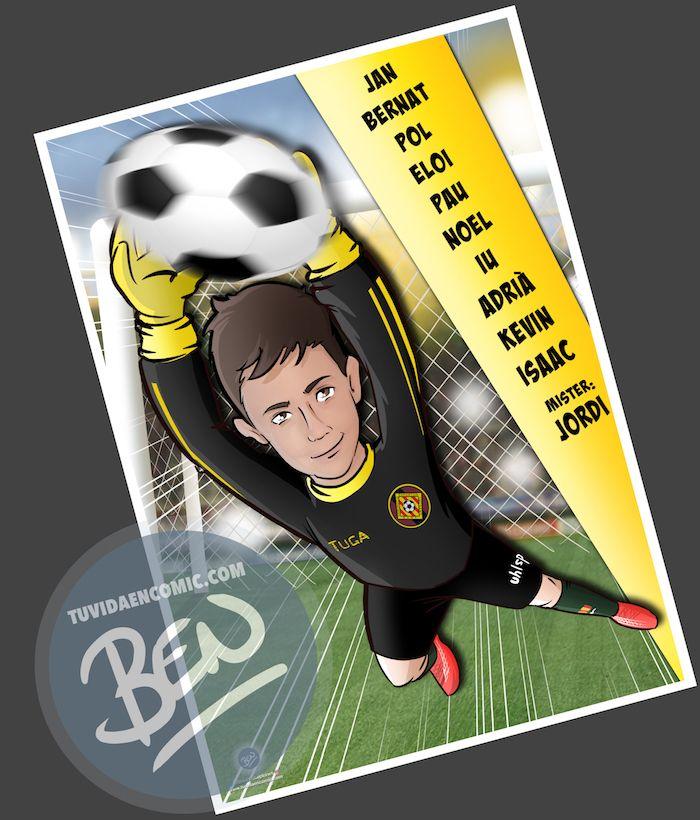 Ilustración infantil - Un regalo para el portero del equipo - Caricatura Personalizada - www.tuvidaencomic.com - BEN - 3