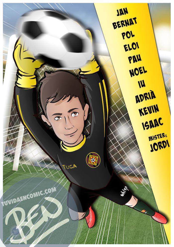 Ilustración infantil - Un regalo para el portero del equipo - Caricatura Personalizada - www.tuvidaencomic.com - BEN - 4