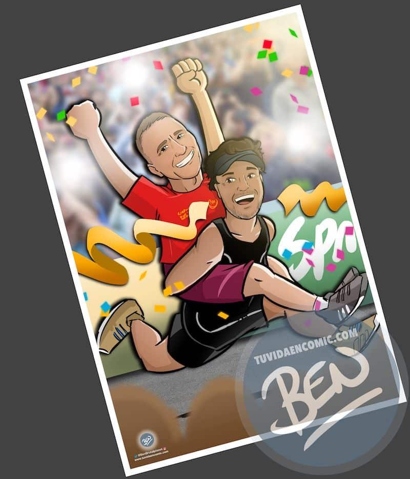 Ilustración personalizada - Amistad y un IronMan contigo a cuestas - Caricatura personalizada - www.tuvidaencomic.com - BEN - 1
