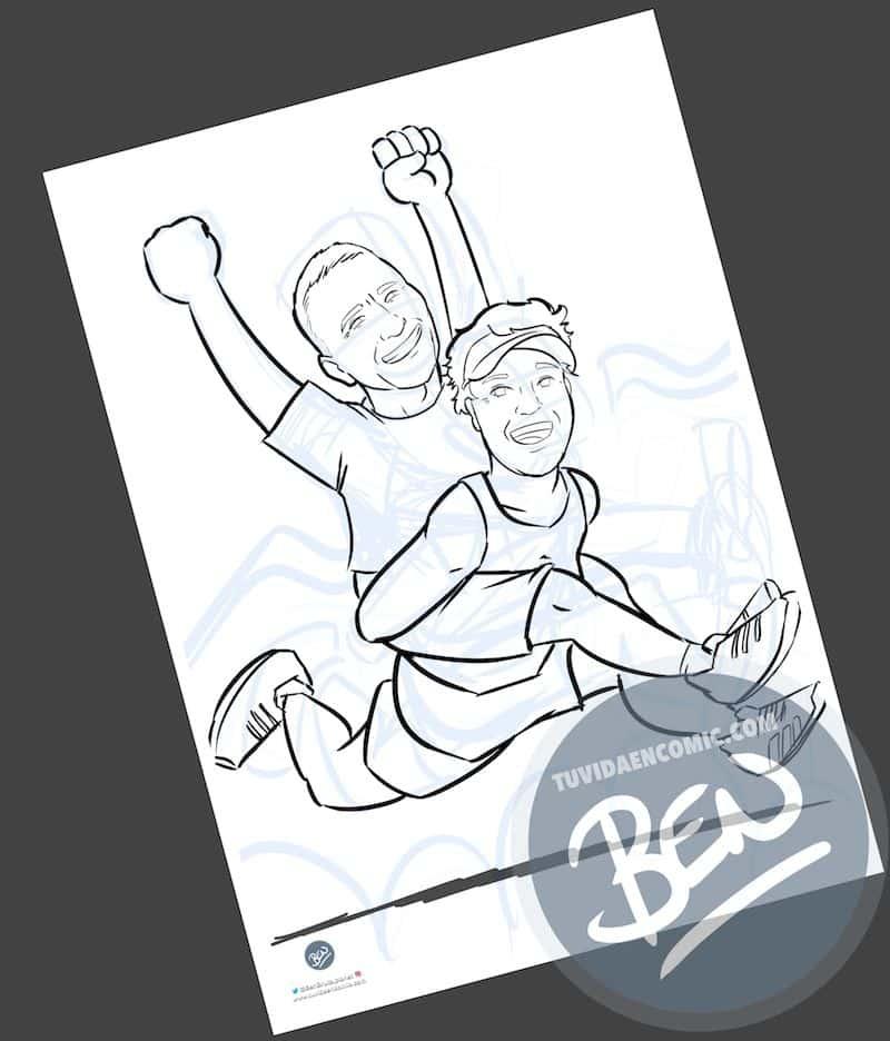 Ilustración personalizada - Amistad y un IronMan contigo a cuestas - Caricatura personalizada - www.tuvidaencomic.com - BEN - 3