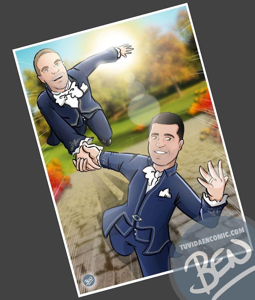 Ilustración personalizada - Regalo de boda para pareja - Caricatura personalizada - www.tuvidaencomic.com - BEN - 4