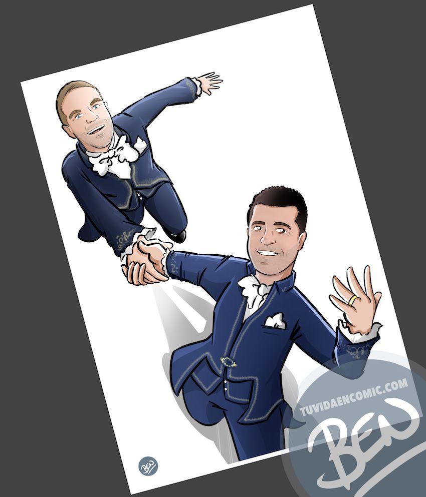 Ilustración personalizada - Regalo de boda para pareja - Caricatura personalizada - www.tuvidaencomic.com - BEN - 3