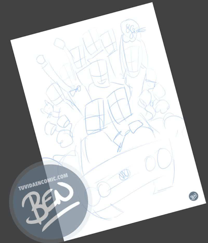 Ilustración grupal personalizada - Nos vamos de boda - Caricatura grupal - tuvidaencomic.com - BEN - 1