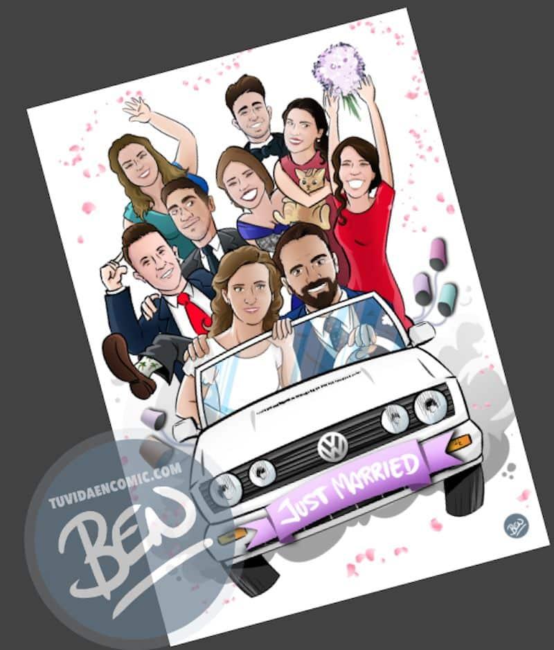 Ilustración grupal personalizada - Nos vamos de boda - Caricatura grupal - tuvidaencomic.com - BEN - 3