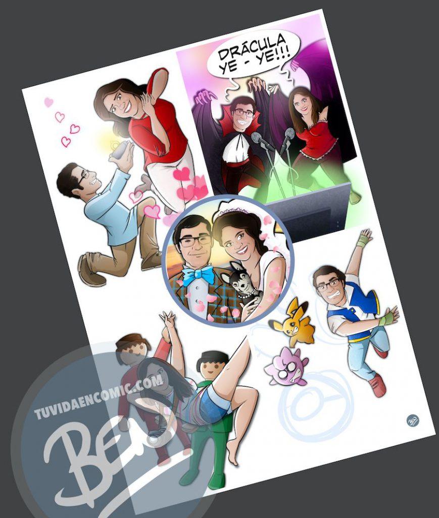 """Composición de Ilustraciones - """"Regalo de boda - Nuestra vida juntos"""" - Caricatura personalizada - www.tuvidaencomic.com - BEN - 3"""