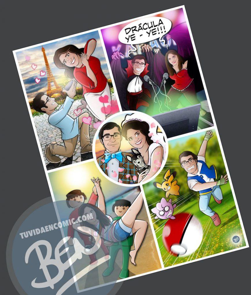 """Composición de Ilustraciones - """"Regalo de boda - Nuestra vida juntos"""" - Caricatura personalizada - www.tuvidaencomic.com - BEN - 4"""