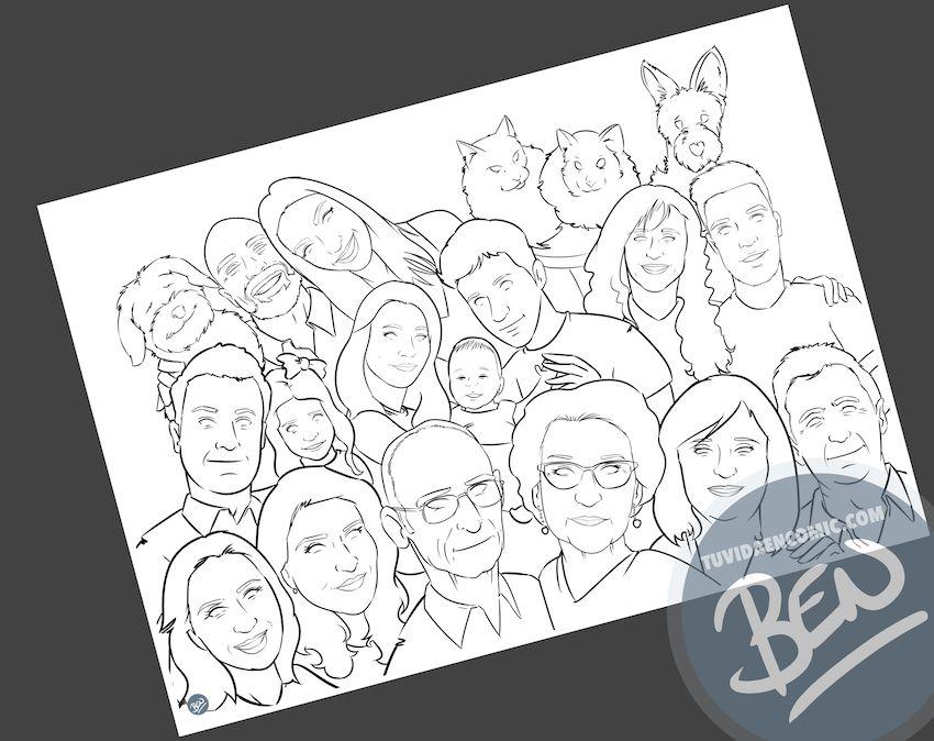 Ilustración de familia - Caricatura grupal - Caricatura de familia - www.tuvidaencomic.com - BEN - 2