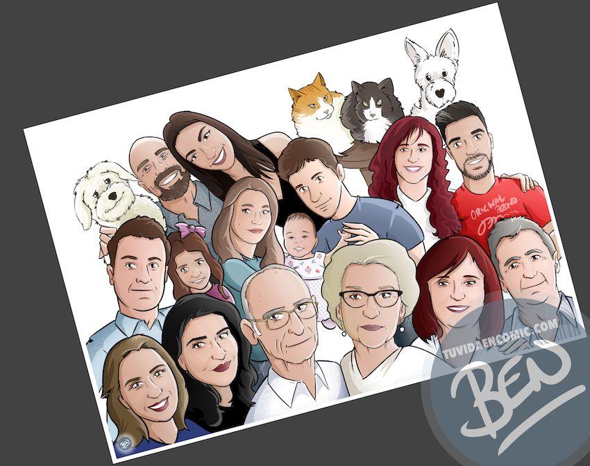 Ilustración de familia - Caricatura grupal - Caricatura de familia - www.tuvidaencomic.com - BEN - 3
