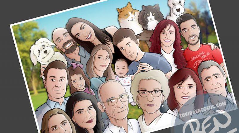 Ilustración de familia - Caricatura grupal - Caricatura de familia - www.tuvidaencomic.com - BEN - 4
