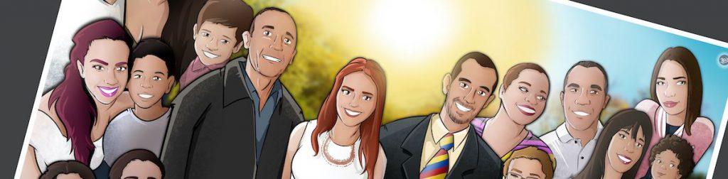 Ilustración de familia - Caricatura grupal personalizada - www.tuvidaencomic.com - Tu Vida en Cómic - BEN - 0