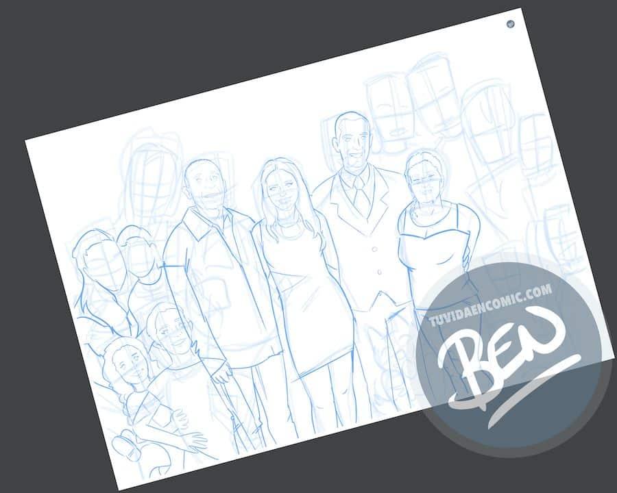 Ilustración de familia - Caricatura grupal personalizada - www.tuvidaencomic.com - Tu Vida en Cómic - BEN - 1