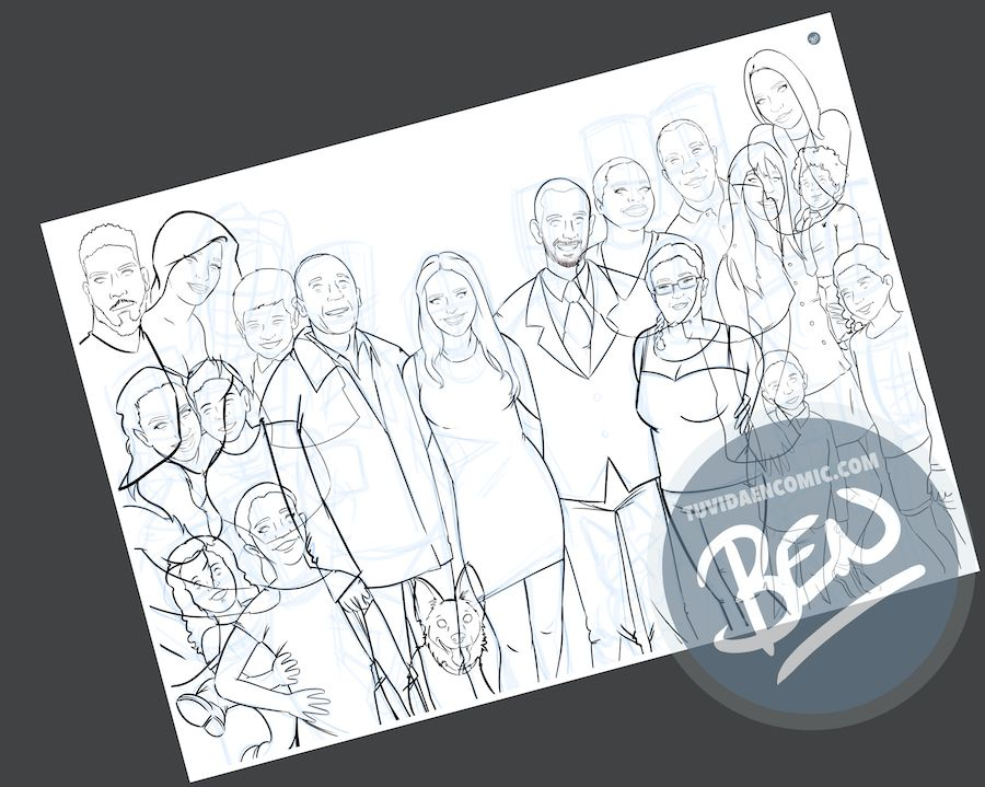 Ilustración de familia - Caricatura grupal personalizada - www.tuvidaencomic.com - Tu Vida en Cómic - BEN - 2