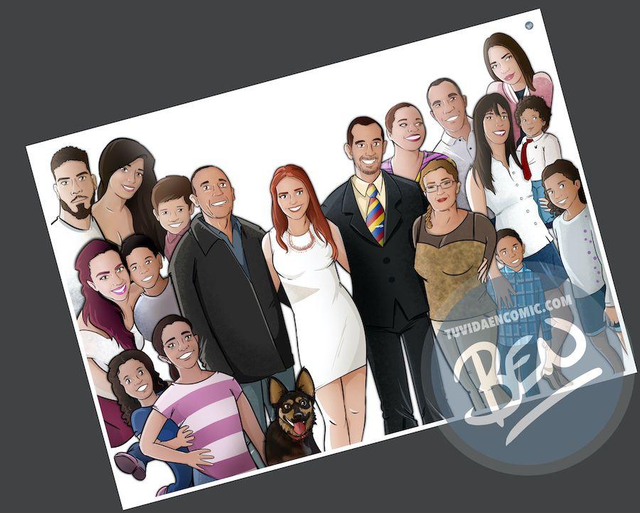Ilustración de familia - Caricatura grupal personalizada - www.tuvidaencomic.com - Tu Vida en Cómic - BEN - 3