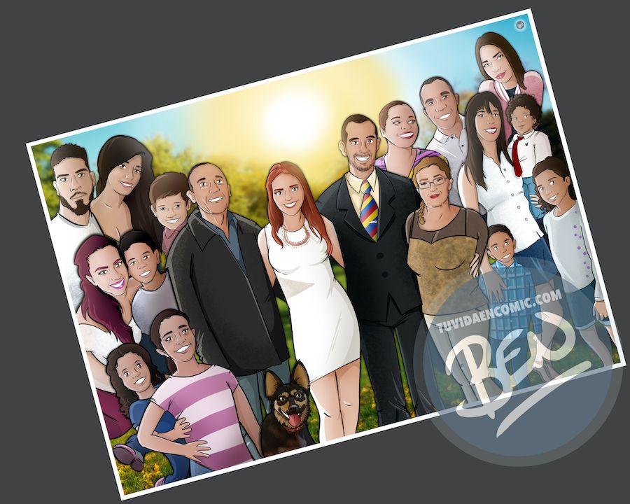 Ilustración de familia - Caricatura grupal personalizada - www.tuvidaencomic.com - Tu Vida en Cómic - BEN - 4