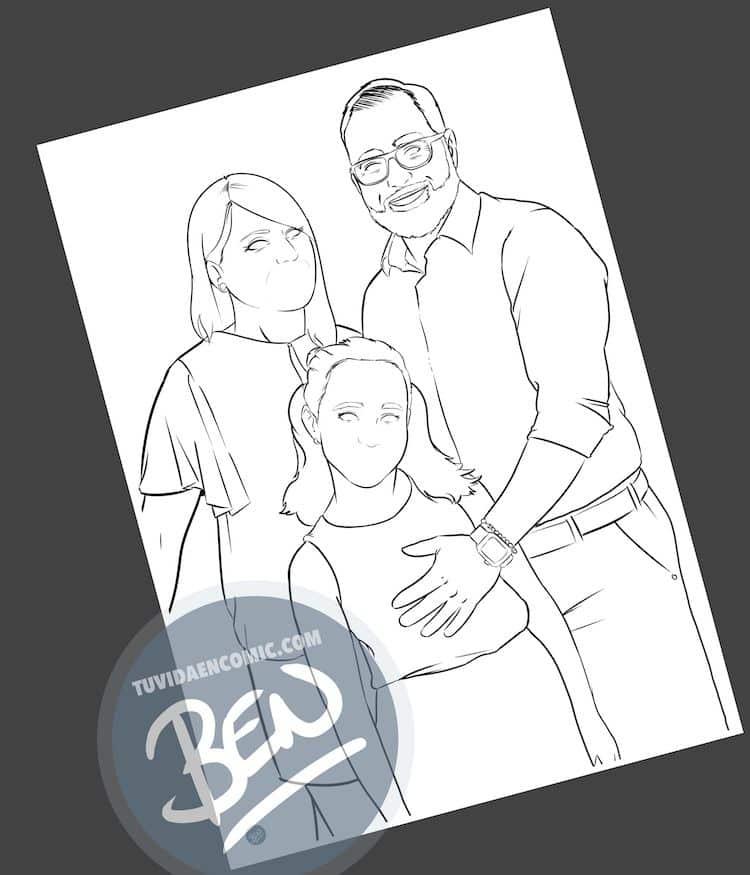Ilustración personalizada - Caricatura familiar - www.tuvidaencomic.com - BEN - Regalo familiar - Regalo original - 1