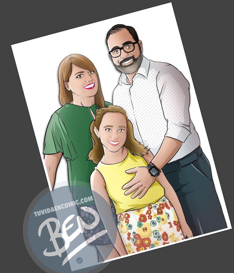 Ilustración personalizada - Caricatura familiar - www.tuvidaencomic.com - BEN - Regalo familiar - Regalo original - 2