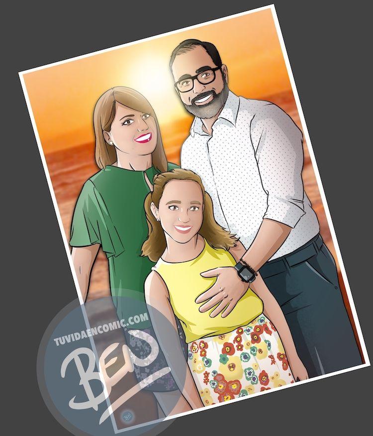 Ilustración personalizada - Caricatura familiar - www.tuvidaencomic.com - BEN - Regalo familiar - Regalo original - 3