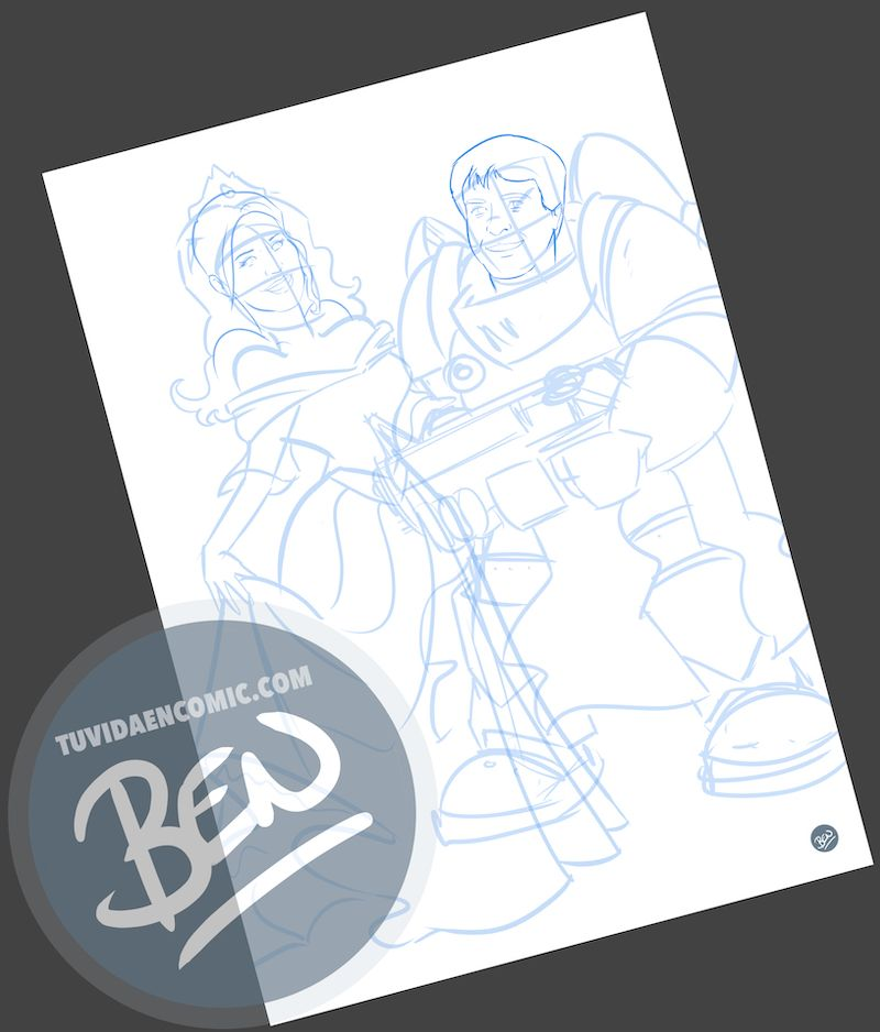 Ilustración personalizada - Princesas y Guerreros - Caricatura personalizada - www.tuvidaencomic.com - BEN - Regalo de boda original - 1