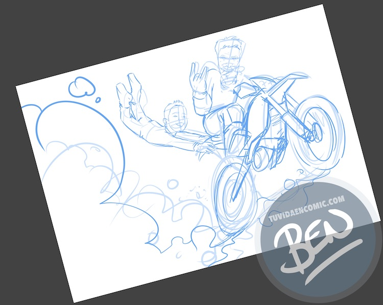 Ilustración personalizada - Profesor sobre ruedas - Caricatura - www.tuvidaencomic.com - BEN - 0