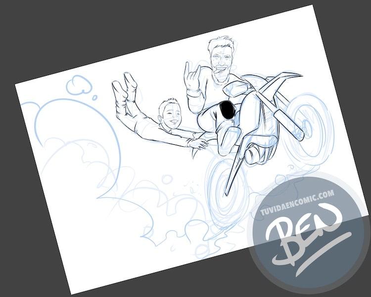 Ilustración personalizada - Profesor sobre ruedas - Caricatura - www.tuvidaencomic.com - BEN - 1