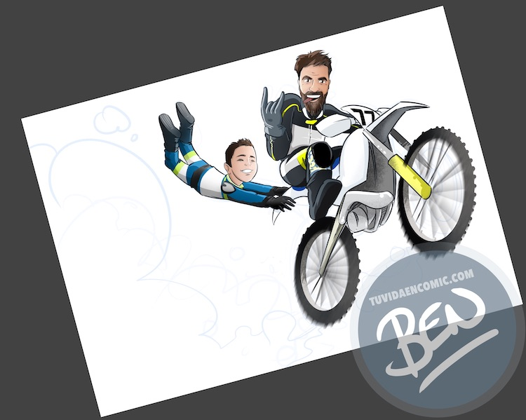 Ilustración personalizada - Profesor sobre ruedas - Caricatura - www.tuvidaencomic.com - BEN - 2