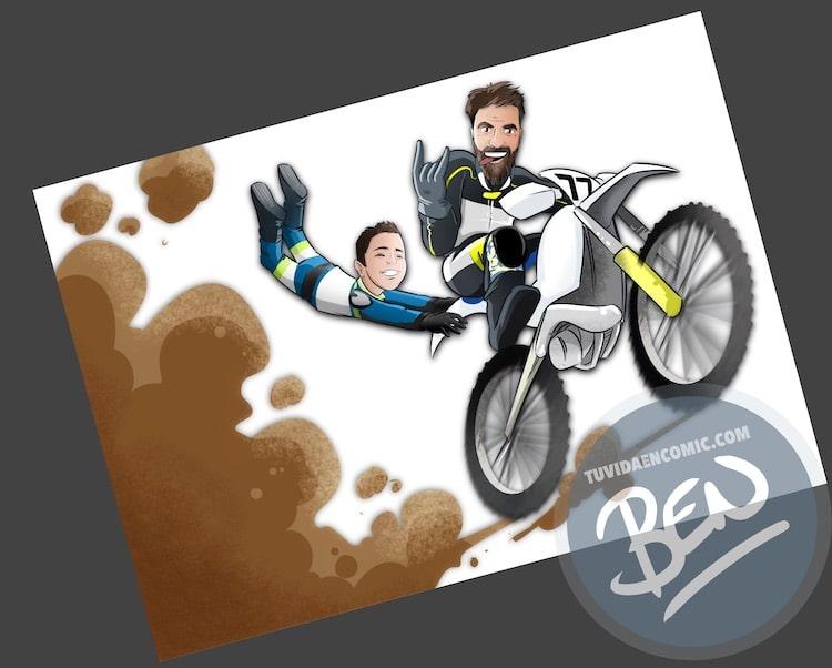 Ilustración personalizada - Profesor sobre ruedas - Caricatura - www.tuvidaencomic.com - BEN - 3