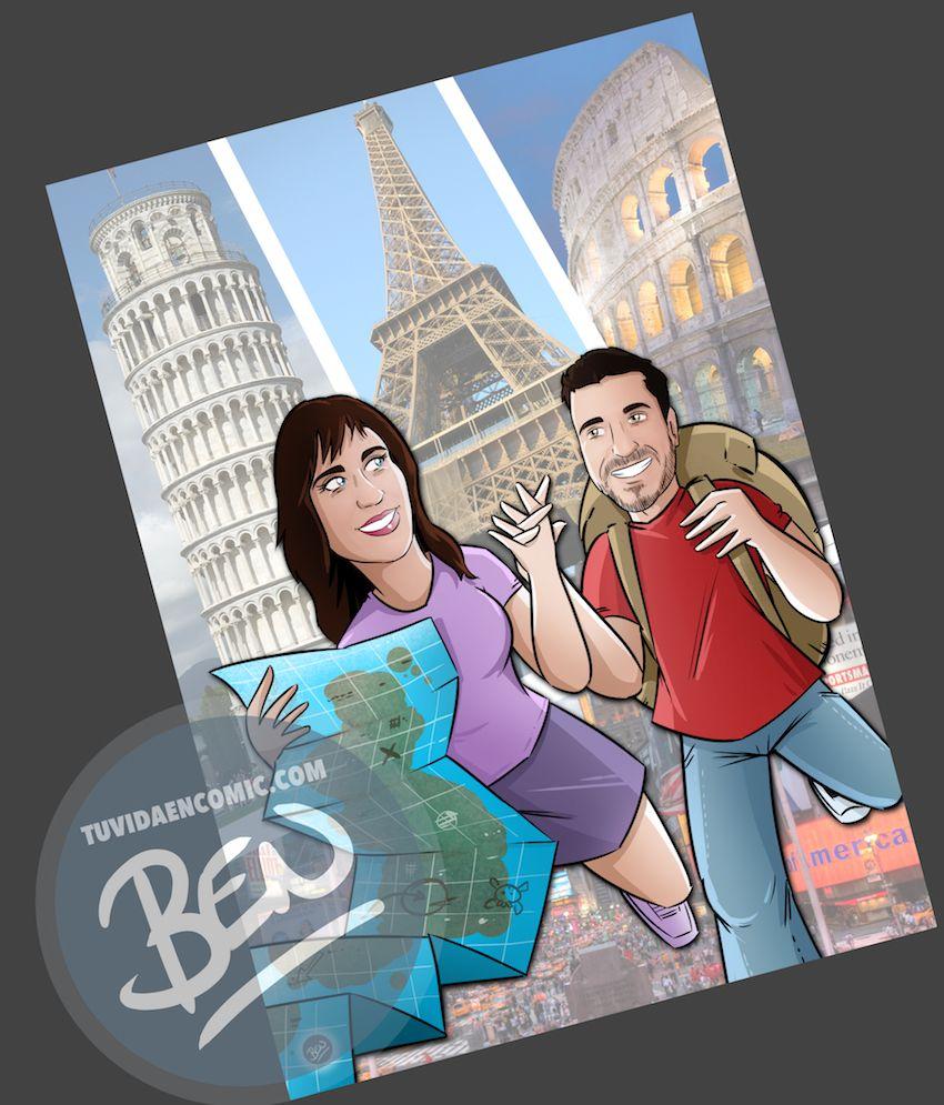 Composición de Ilustraciones - Regalo de boda original en cómic - www.tuvidaencomic.com - Tu Vida en Cómic - BEN - 2