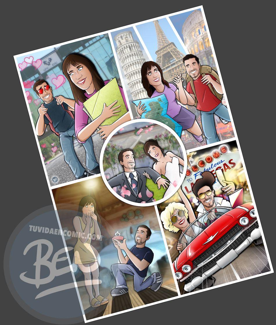 Composición de Ilustraciones - Regalo de boda original en cómic - www.tuvidaencomic.com - Tu Vida en Cómic - BEN - 5