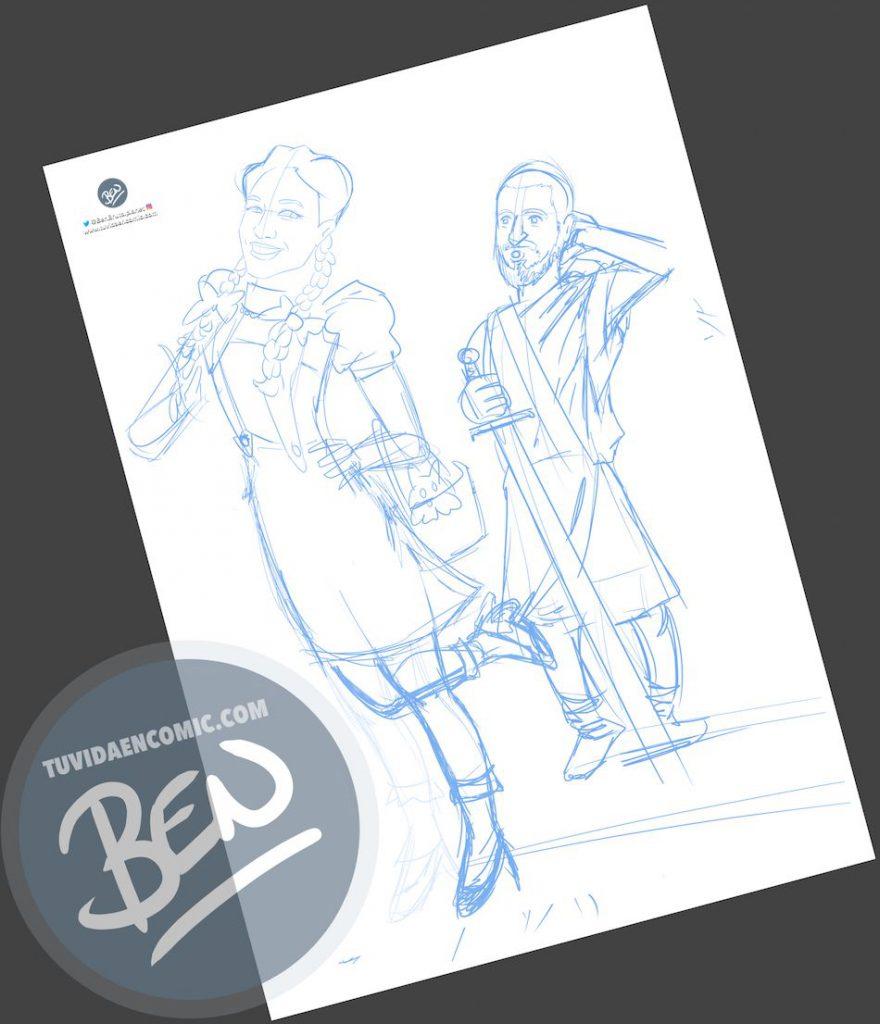 Ilustración para una curiosa pareja - Caricatura personalizada - www.tuvidaencomic.com - Tu Vida en Cómic - Regalo Original - BEN - 1