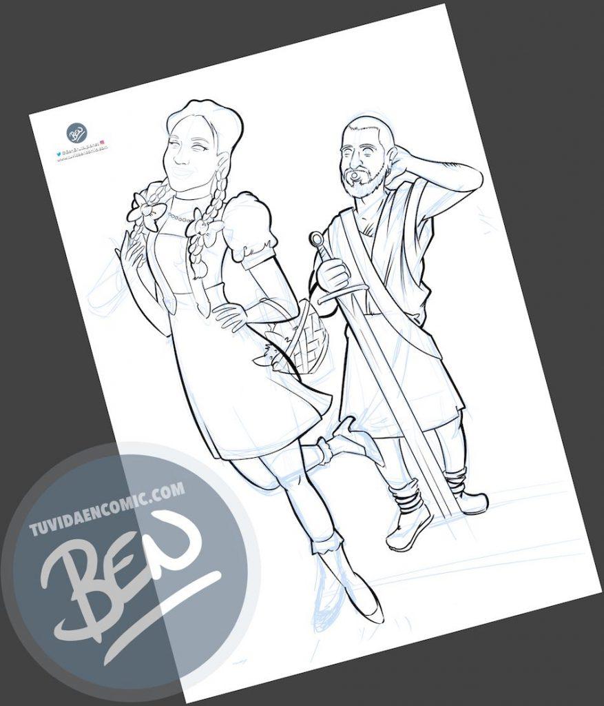 Ilustración para una curiosa pareja - Caricatura personalizada - www.tuvidaencomic.com - Tu Vida en Cómic - Regalo Original - BEN - 2