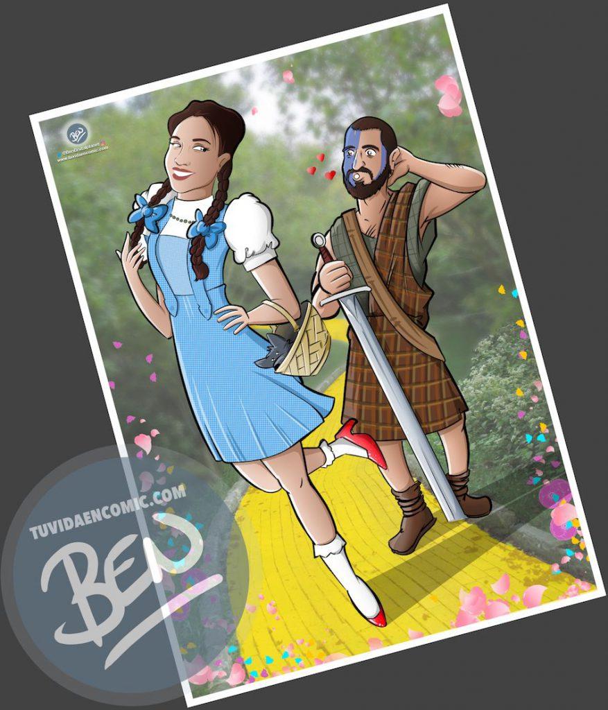 Ilustración para una curiosa pareja - Caricatura personalizada - www.tuvidaencomic.com - Tu Vida en Cómic - Regalo Original - BEN - 4