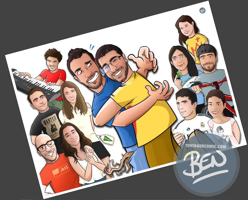Todos tus amigos en una Caricatura grupal - www.tuvidaencomic.com - BEN - Carcatura personalizada - 3
