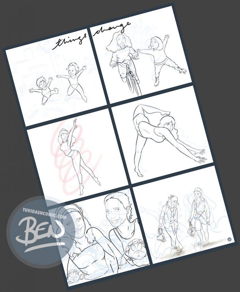 """Composición de Ilustraciones - """"Things Change"""" - Regalo personalizado familiar - www.tuvidaencomic.com - Tu Vida en Cómic - Regalo Personalizado - BEN - Caricatura personalizada - 3"""