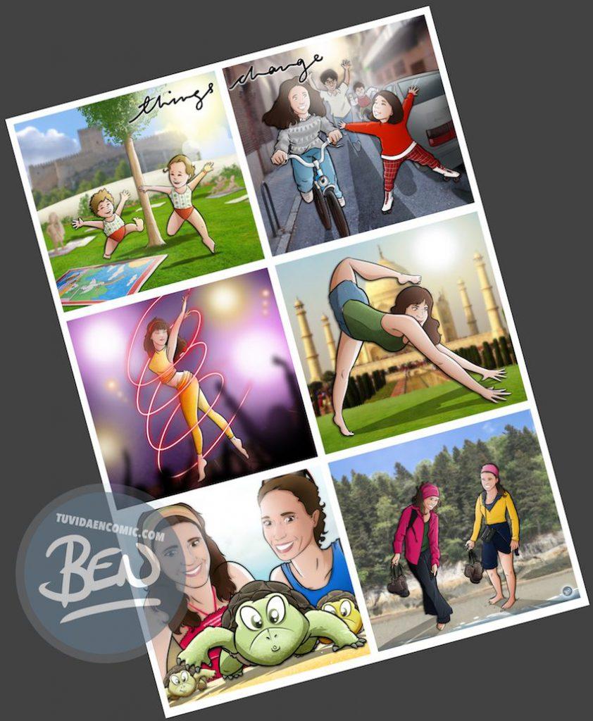 """Composición de Ilustraciones - """"Things Change"""" - Regalo personalizado familiar - www.tuvidaencomic.com - Tu Vida en Cómic - Regalo Personalizado - BEN - Caricatura personalizada - 4"""