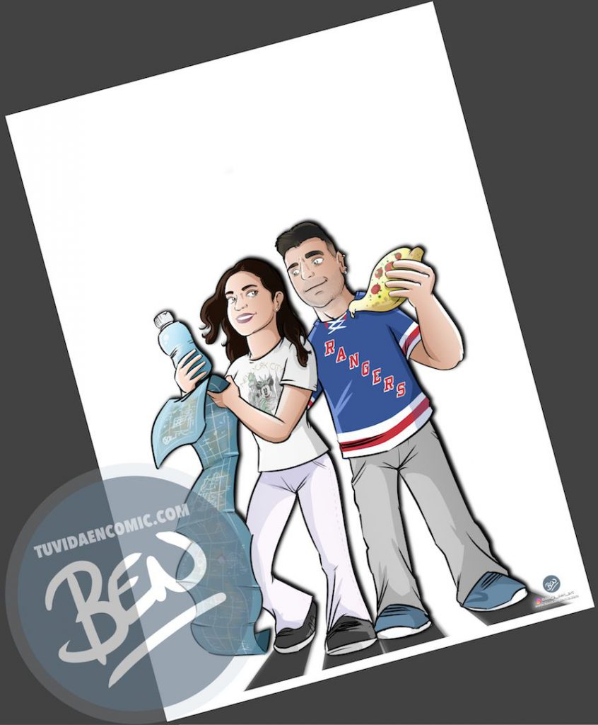 Ilustración - Aventura en Nueva York - caricatura personalizada - www.tuvidaencomic.com - Tu Vida en Cómic - BEN - Regalo original - 3