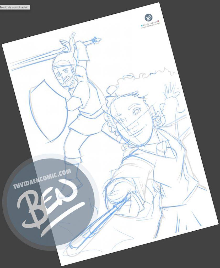 Ilustración - Para fans de Zelda y Harry Potter - Caricatura personalizada - www.tuvidaencomic.com - Regalos originales - Regalos personalizados - 1