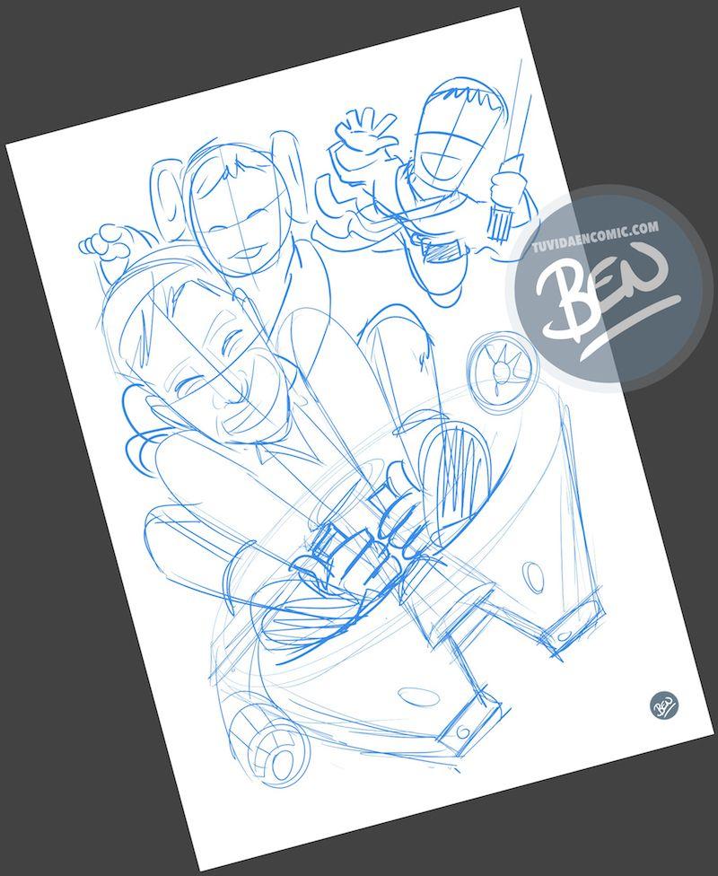 Ilustración - familia de una galaxia muy lejana - Caricatura personalizada - www.tuvidaencomic.com - Regalo Personalizado - BEN - Caricaturas personalizadas - 1