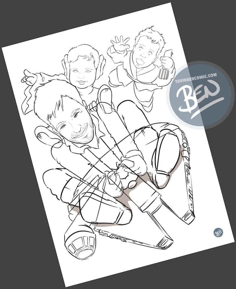 Ilustración - familia de una galaxia muy lejana - Caricatura personalizada - www.tuvidaencomic.com - Regalo Personalizado - BEN - Caricaturas personalizadas - 2