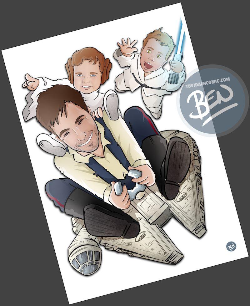 Ilustración - familia de una galaxia muy lejana - Caricatura personalizada - www.tuvidaencomic.com - Regalo Personalizado - BEN - Caricaturas personalizadas - 3