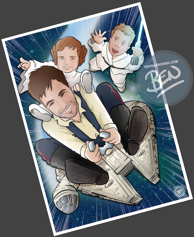 Ilustración - familia de una galaxia muy lejana - Caricatura personalizada - www.tuvidaencomic.com - Regalo Personalizado - BEN - Caricaturas personalizadas - 4
